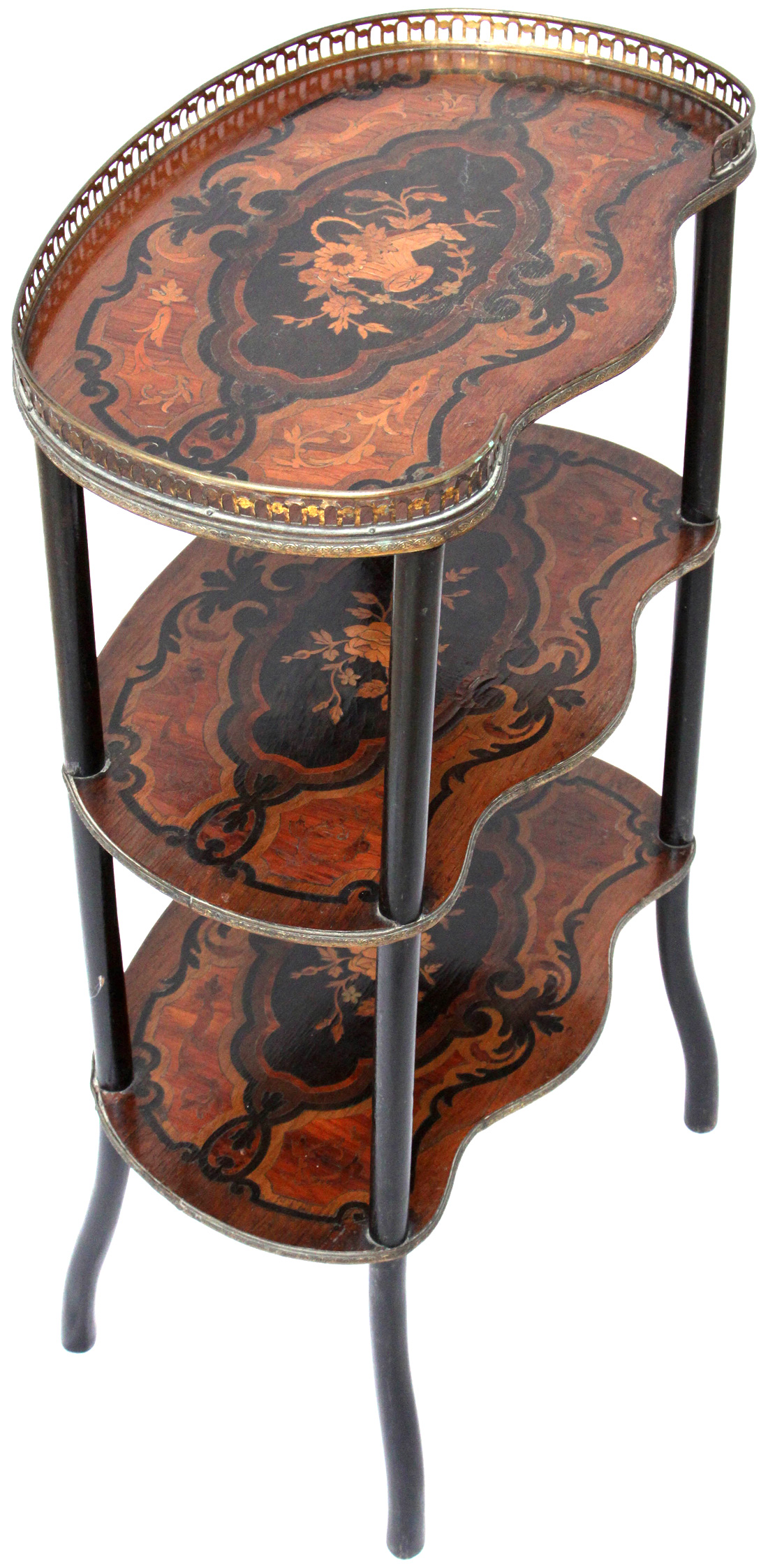 Antique Victorian What-not Etagere with Marquetry Shelves - כוננית מדפים  ויקטוריאנית - Antique Victorian What-not Etagere With Marquetry Shelves