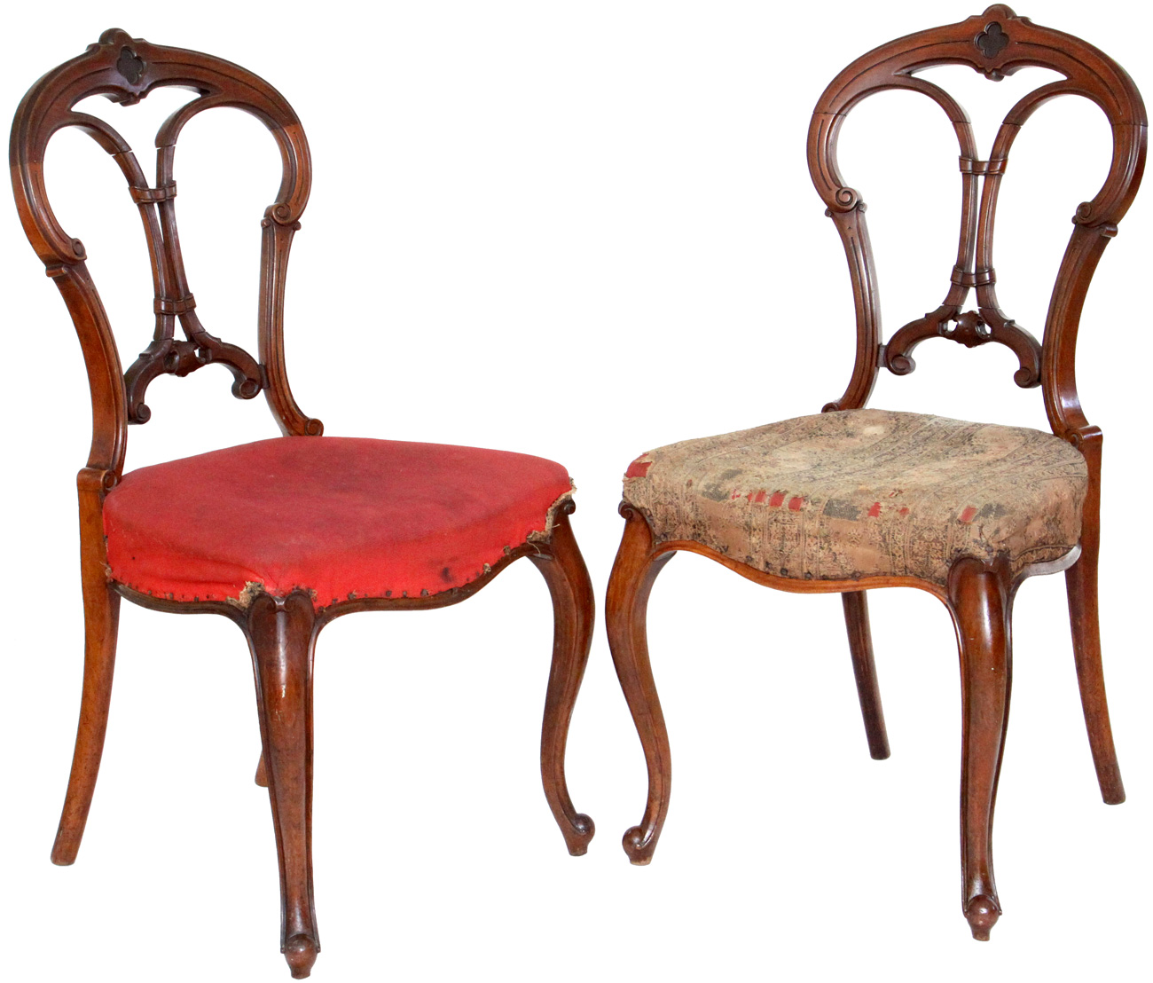 A pair of Antique Victorian Balloon Back Chairs with carved back,  upholstered seat and cabriole front legs - Antique Victorian Balloon Back Chairs