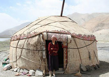 A typical Yurt - circular domed tent in central Asia